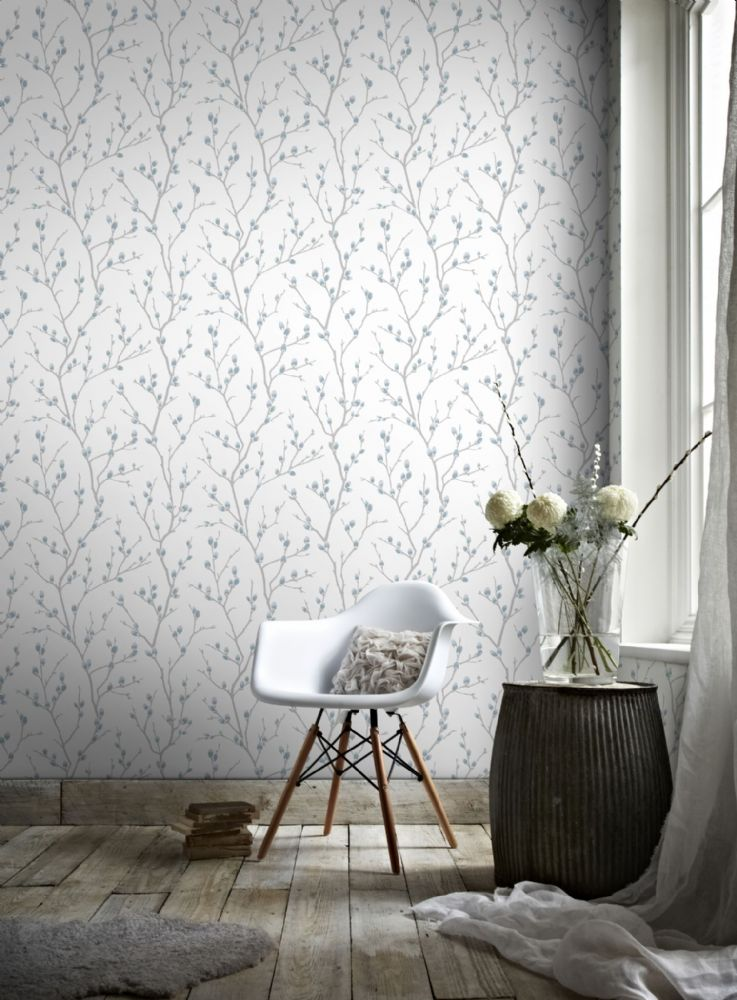 Graham and Brown Karma White/Teal  33-280 Wallpaper